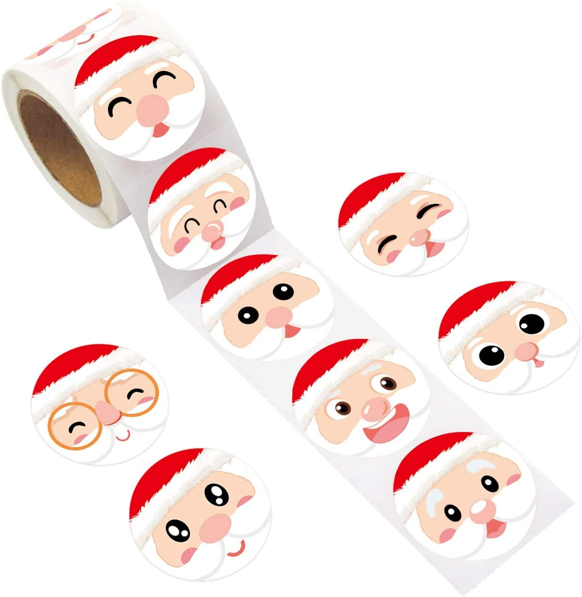 Santa Face Sticker Christmas Stickers for Kids 200Pcs Per Roll