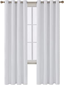 Deconovo Darkening Thermal Insulated Blackout Grommet Window Curtain Panel for Living Room, 52x95 Inch, Off White