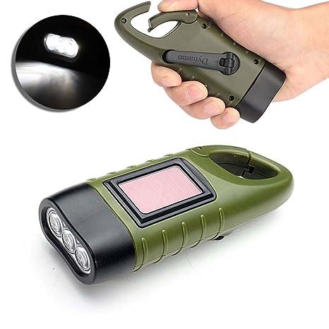 Mano Manivela solar powered linterna, wildlead batería de ...