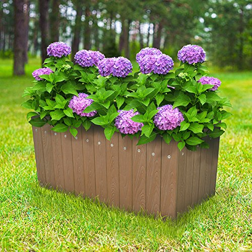 Indoor Outdoor Rectangular planter box Flower Vegetable Raised Planter Box Herb About Ground Plantar box (12.5 Gallons) Brown (Raised Planter Indoor)