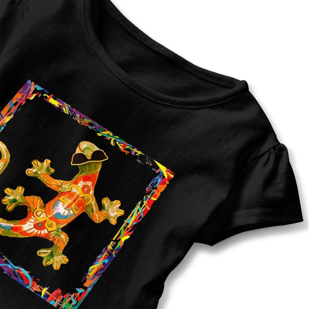 Hipster Colored Gecko Cute Short Sleeve Clothes for Boy Girl Dress Cotton T-Shirt Unique Bodysuit Romper,One-Piece Jumpsuit