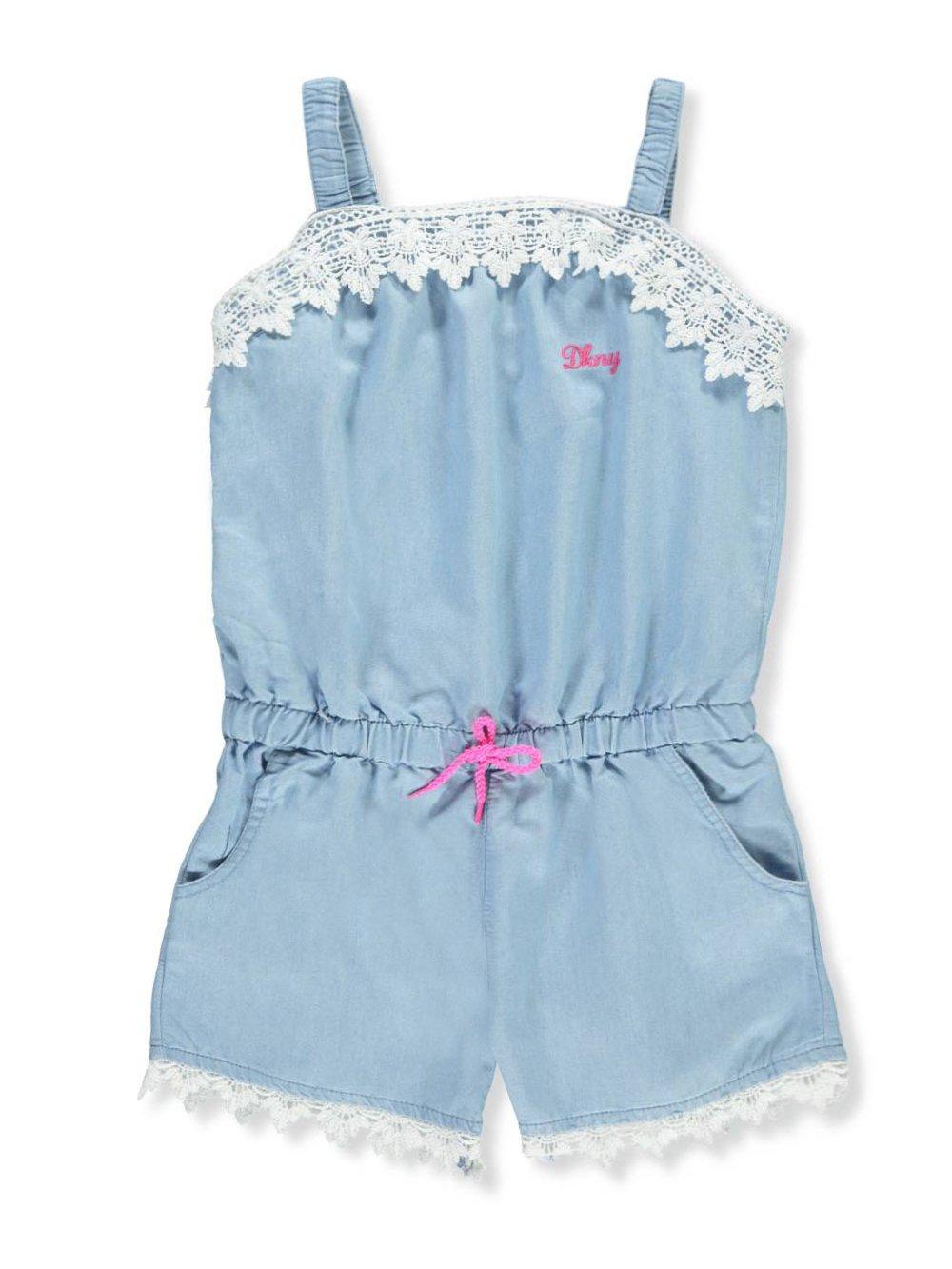 DKNY Big Girls' Romper, Crochet Trim Elastic Waist Light Wash, 10