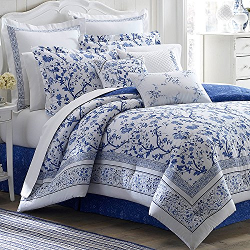 (Laura Ashley Charlotte Comforter Set, King, Blue)