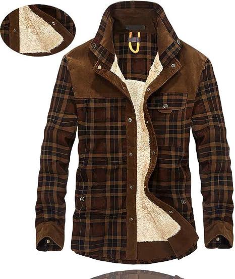 X&Armanis Hombres la Camisa Abrigada,Camisa de Franela de celosía Forro de Lana de Invierno Camisa de Grabado en Madera Chaqueta,003,L: Amazon.es: Hogar