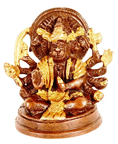 Purpledip Brass Idol Hanuman/Bajrangbali In Panchmukhi Avatar: Unique Copper Gold Finish For Home Temple, Office Table or Shop Puja Shelf | Hindu Religious Gift (11316)