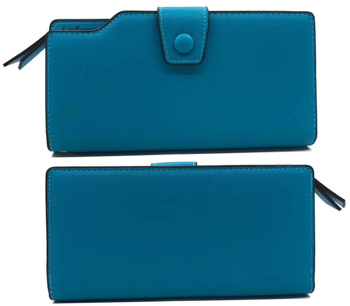 Wallet-NEWANIMA Women Multi-card Two Fold Long Zipper Clutch Purse (Style3-Skyblue) by NEWANIMA (Image #2)