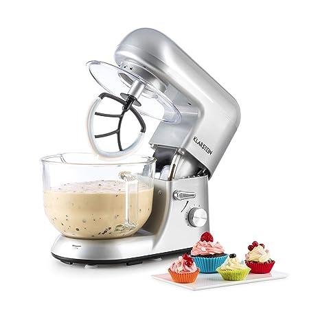 Klarstein - Bella Argentea 2G , Robot de Cocina , Mezcla , Amasadora , Batidora , 1200W , 2,5 a 5,2 litros , Bol Cristal , 6 velocidades , Función ...
