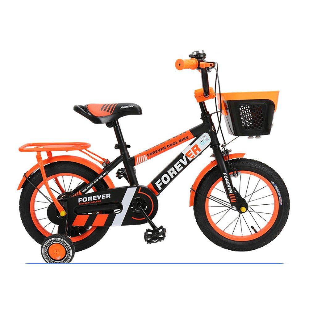 Mariny キッズの自転車2-13歳のユニセックスの子供用自転車12/14/16/18インチのベビーカーキャンパスのトレーニングマウンテンバイク (色 : Black-orange, サイズ さいず : 14