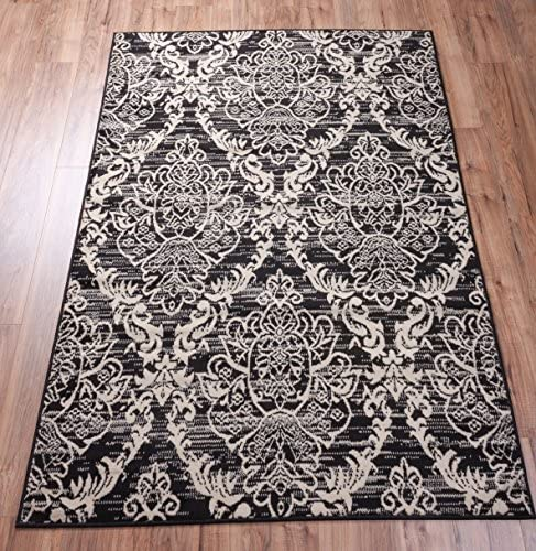 Well Woven Miami Ginger Damask Black Modern Area Rug 8 2 X 9 10