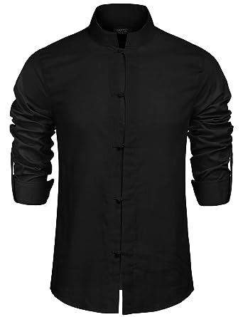 04c398ea2a85 COOFANDY Men s Linen Casual Long Sleeve Mandarin Collar Basic Button ...
