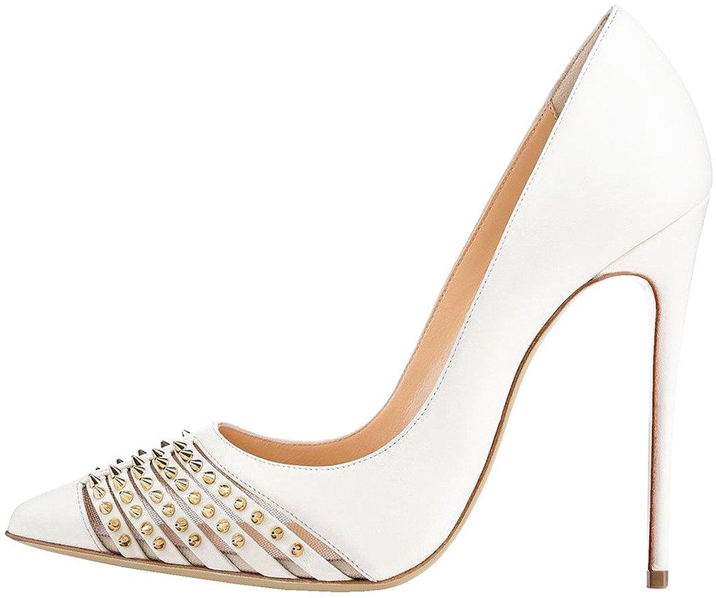 Calaier Mujer CaRussian Tacón De Aguja 12CM Sintético Ponerse Zapatos de tacón 40.5|Blanco