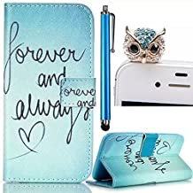 Samsung Galaxy S4 I9500 Case,Colorful Painting Wallet Case,Vandot 3in1 Set Unique Elegant Painting Printing Pattern,PU Leather Magnetic Closure Flip Stand Protective Skin Cover Shell+Crystal Rhinestone Owl Anti Dust Plug+Screen Touch Stylus Pen-Blue Forever And Always Love Heart