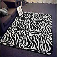 Ustide Modern Area Rugs Zebra Rugs for Living Room Modern Black and White Rugs Anti-slip Kids Bedroom Carpet Thicken Baby Crawling Mats 31.5x74.8