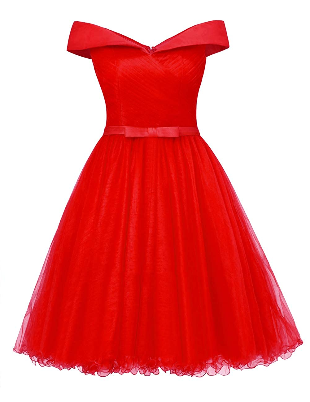 Red Uther Off The Shoulder Prom Homecoming Dresses Knee Length Cocktail Dress Tulle Gown