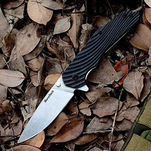 DuraTech Folding Knife, 3-1/4 inch Stainless Steel Blade – Black Wavy Grain G10 Handle with Liner Lock Mechanism & Deep Carry Clip, for EDC, Outdoor, Camping, Survival