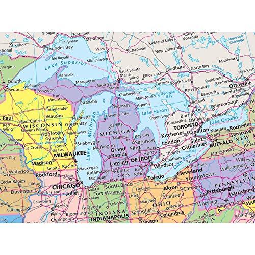 Cartina Fisico Politica Usa.Amazon It Stati Uniti D America Mappa Fisico E Politica Carta Murale Libri