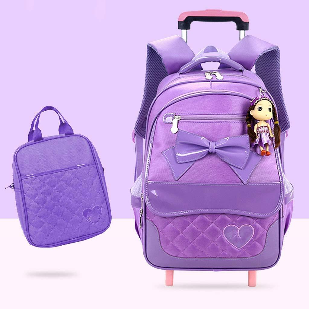 Lila A-Nice Kinder Schultasche mit Rollen rollende Trolley-Tasche für Mädchen und Jungen Schule Laptop Bücher Tasche - (Größe  L34cm x B21cm x H47cm) (Farbe   Lila)