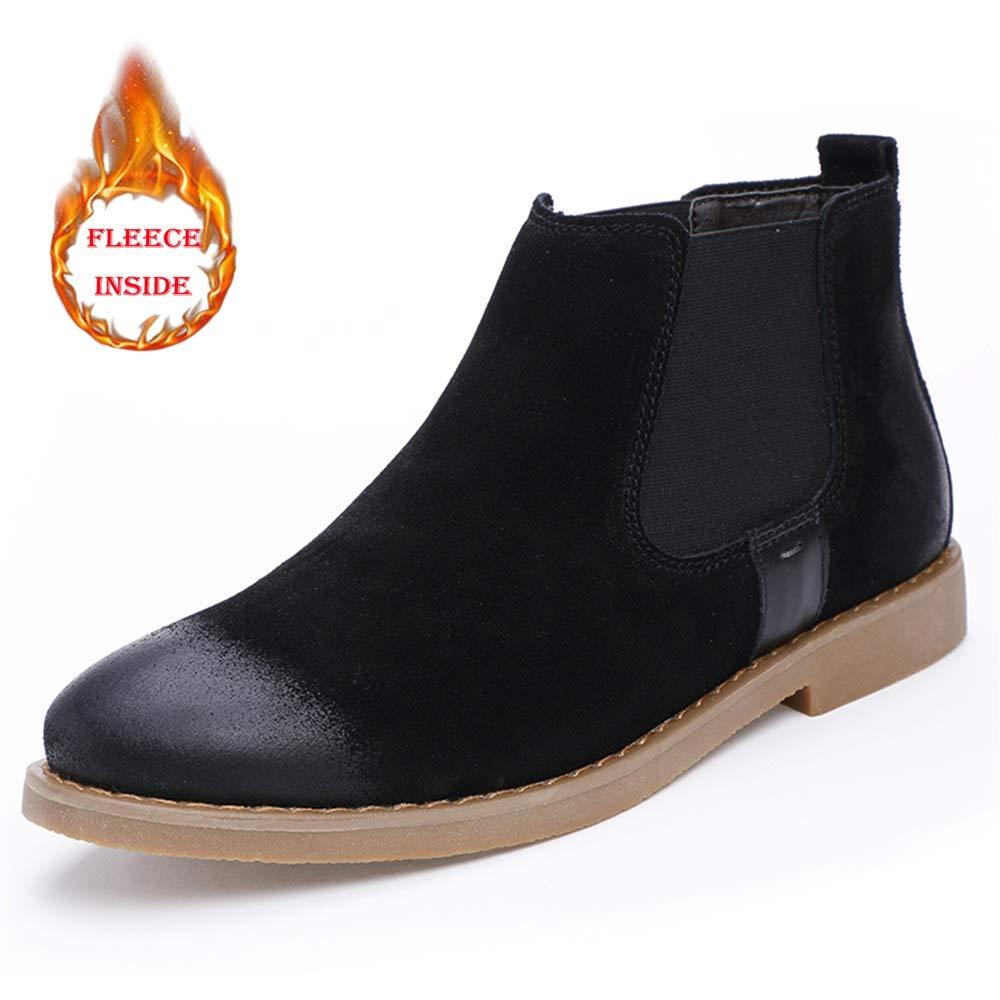 MXNET Casual Slip On Polnischen Retro Winter Faux Fleece in Ankle Stiefel für Männer (konventionell optional) (Farbe   Warm schwarz, Größe   44 EU)