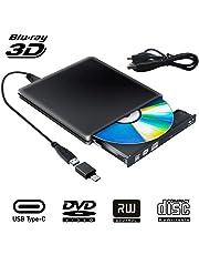 Externe Blu Ray 3D DVD Laufwerk USB 3.0 USB Type C Externes Blueray CD DVD RW Rom Tragbar Brenner für PC MacBook iMac Mac OS Windows 7/8/10/Vista/XP