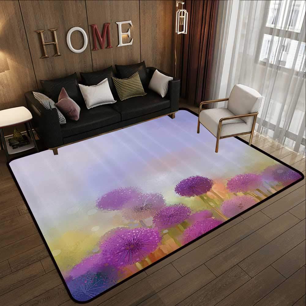 Pattern03 47 x 59 (W120cm x L150cm) Kids Rugs,Watercolor Flower Home Decor,Vintage Flower in Pastel color Fragrance Natural Bloom Beauty Print,Multi 63 x 94  Slip-Resistant Washable Entrance Doormat