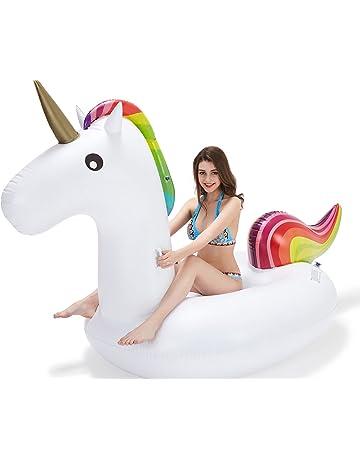 Vickea Flotador de Unicornio Gigante Inflable para divertirse en la Piscina Gran Flotador de Juguete,