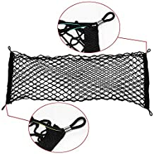 "IDEAPRO® Car Rear Cargo Net Multipurpose Elastic Bungee Envelope Style Trunk Luggage Cargo Storage Network Organizer Net Auto Interior Storage Mesh with Mounting Screw (35"" X 12"")"