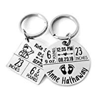 Custom Stainless Steel Cute Keychains Baby Announcement Keychain Personalized Engraved...