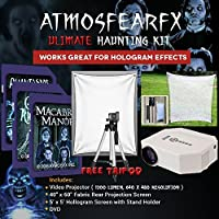 AtmosfearFX Ghostly Apparitions, Phantasms And Macabre manor SD Cards Ultimate Haunting Kit, Includes Translusent Screen, Hologram Screen With Stand Kit and Free Tripod
