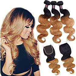 """3 Bundles Ombre Hair with Closure Unprocessed Brazilian Virgin Hair with Closure Ombre Remy Human Hair Extensions Weave (14"""" 16"""" 18""""+12"""" Free Closure, T1B/27)"""