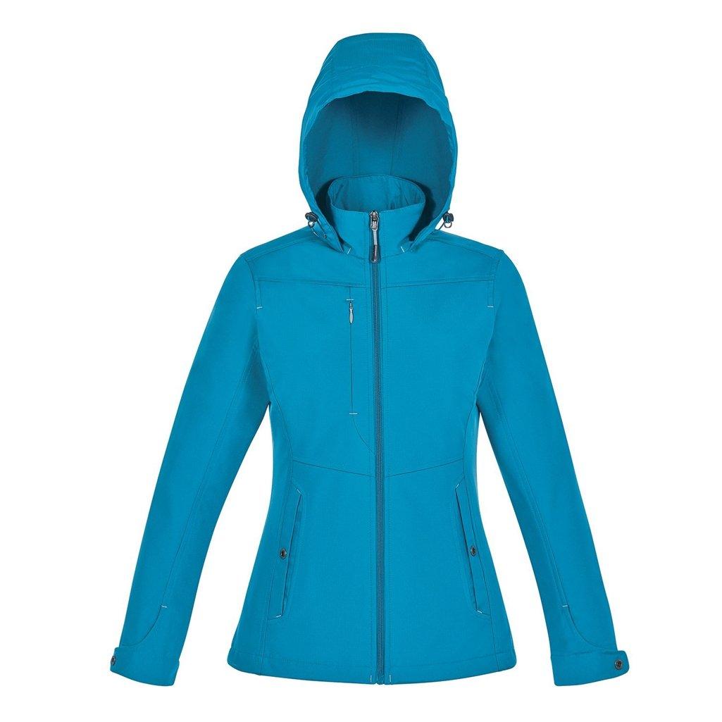 North End Forecast Ladies 3-Layer Bonded Travel Soft Shell Jacket (X-Small, Blue Ash/Platinum)