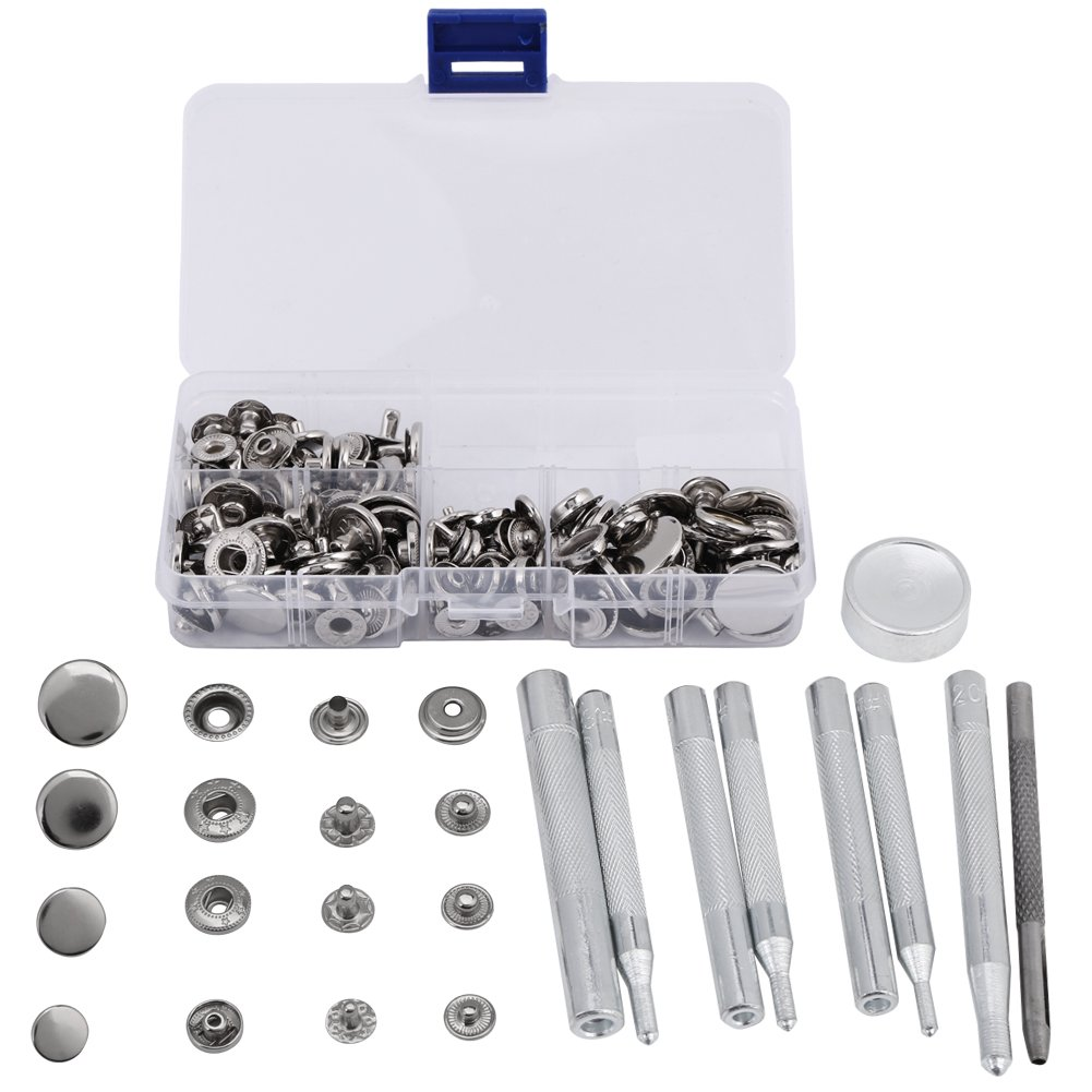 Jeans Button Replacement Kit,Press Studs Buttons Snap Fasteners 10mm 12mm 15mm 17mm with Setting Tools Bronze