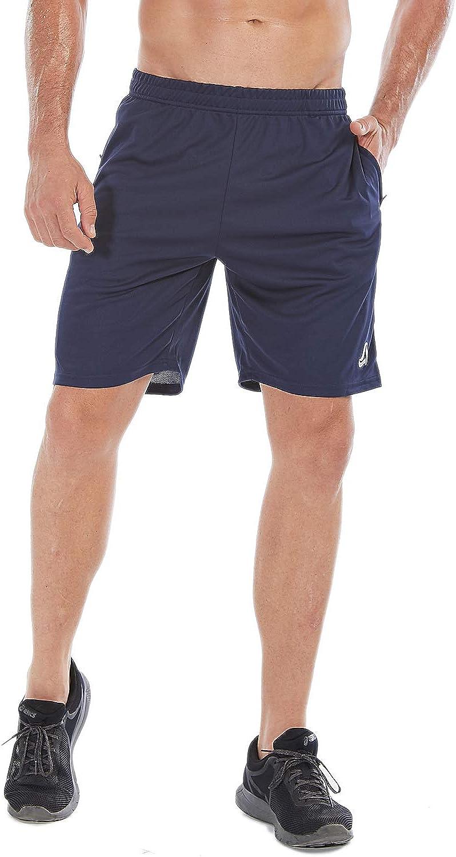 SILKWORLD Mens 7 Mesh Cool Dry Athletic Running Shorts with Zipper Pockets