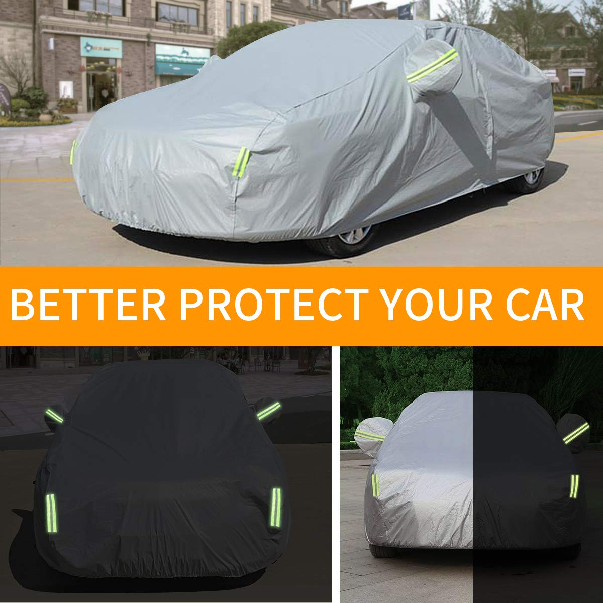 YIBEICO Sedan Car Cover Snow Cover All Weather Waterproof Protection From Snow Rain Dust Sun UV with Cotton Zipper for Automobiles Indoor Outdoor Fit Sedan(485*190*147 cm)