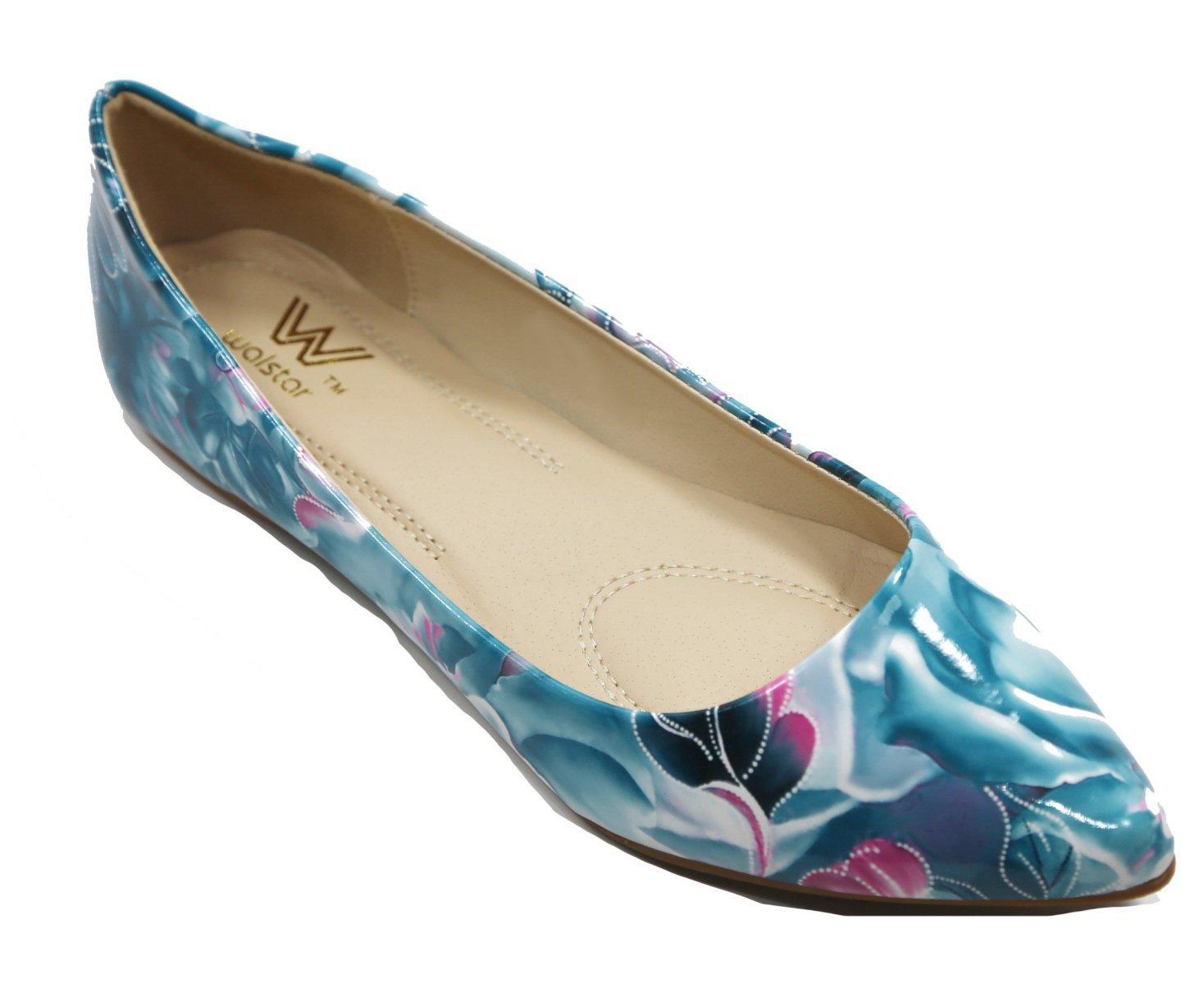 Walstar Women's Basic Point Toe Ballet Flats B00U6K0JQO 7.5 B(M) US|Flo11-blue