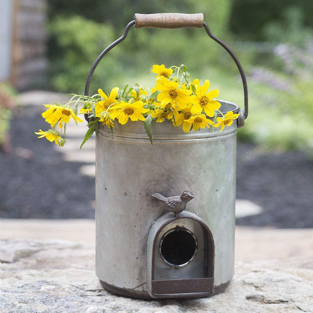 CTW Home Collection Bucket Birdhouse Planter