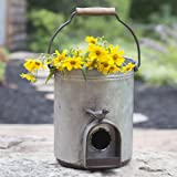 Rustic Farmhouse Galvanized Pail Birdhouse with Faucet Roost and Birdfeeder