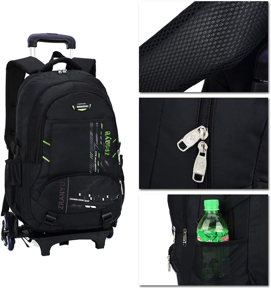 BOZEVON Trolley Backpack Kids Six Pulley Backpack Luggage Trolley School Bags