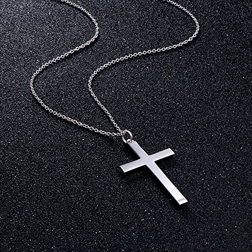 Men's S925 Sterling Silver Classic Cross Pendant Necklace 24'' Silver Chain by SILVER MOUNTAIN (Image #4)