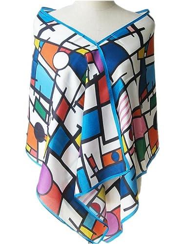 Prettystern P053 - 160cm Pittura sciarpa di seta -Piet Mondrian - pittura astratta - Composizione in...