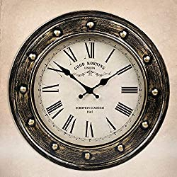 YUANZ Home American Country Vintage Wrought Iron Hanging Clock European Living Room Antique Creative Wall Charts Ancient Rome Old Wall Clock (Color : Rope)