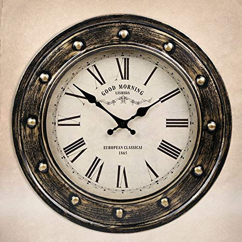 - IANXI Home American Country Vintage Wrought Iron Hanging Clock European Living Room Antique Creative Wall Charts Ancient Rome Old Wall Clock (Color : White)
