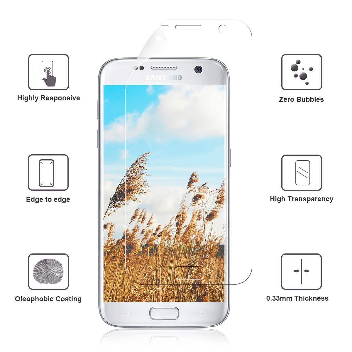 NONZERS Protector de Pantalla para Samsung Galaxy S7,[3-Unidades] HD Ultra TPU Film Flexible[Cobertura Total] [Sin Burbujas]: Amazon.es: Electrónica