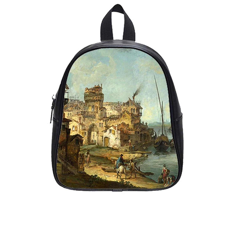 Custom London Scene PU Leather Kids School Bag (Large)