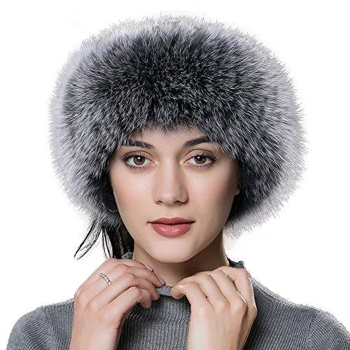ENJOYFUR Women Headband Fox Fur Headband Winter Earwarmer Earmuff (Gray)