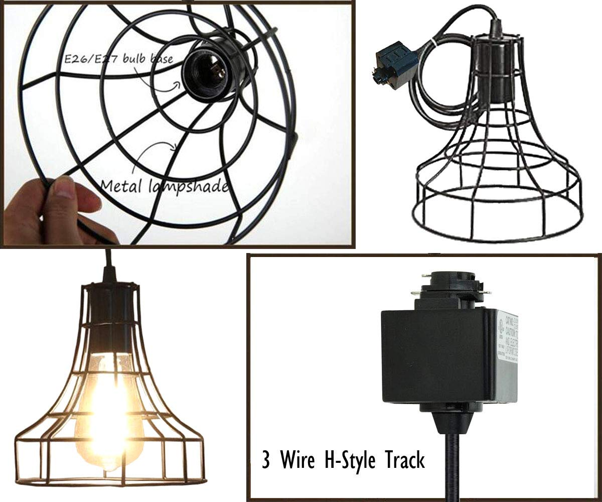 Industrial H-Type Track Pendant Lighting Commercial Track Lighting- Rustic Adjustable Industrial Track Light- Kitchen Track Lighting,Set of 3 by Kiven (Image #4)