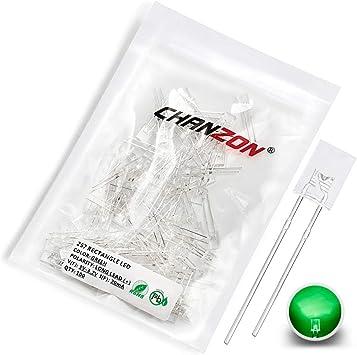 Square 2mm x 5mm x 7mm Clear Green LED Bulb Diode Light Emitting Indicator