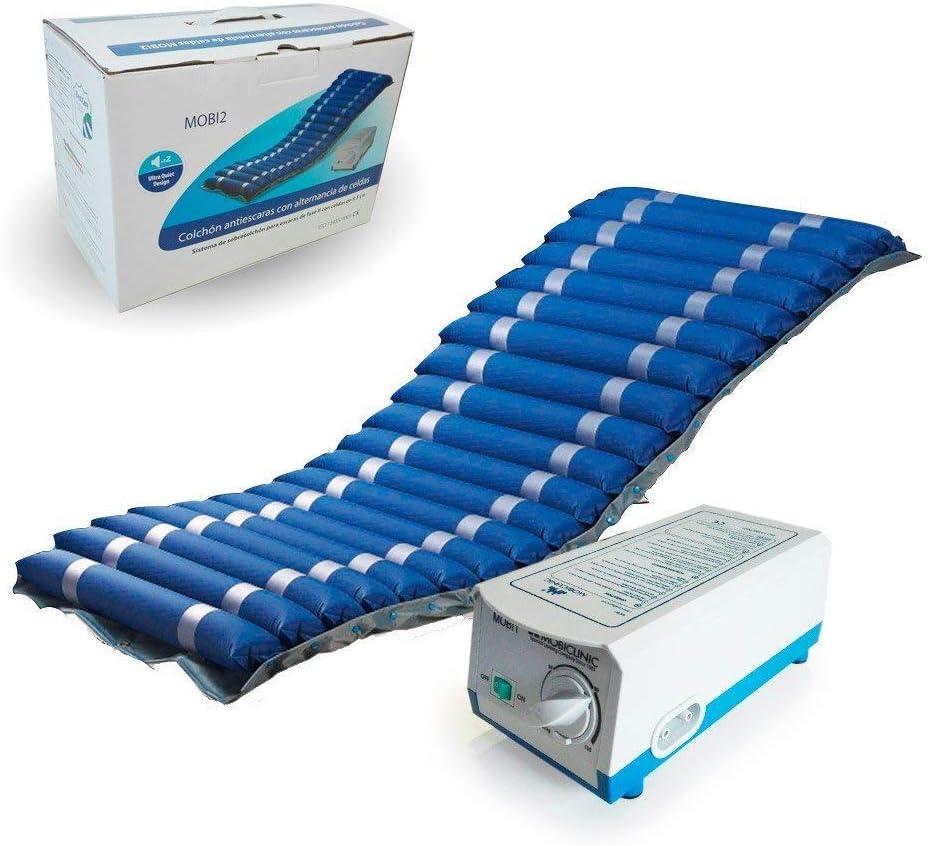 Mobiclinic, Mobi 2, Colchón antiescaras con motor compresor, para escaras grado I y II, de aire alternante, Nylon y PVC médico ignífugo, 200 x 86 x 9.5, 20 celdas, color Azul
