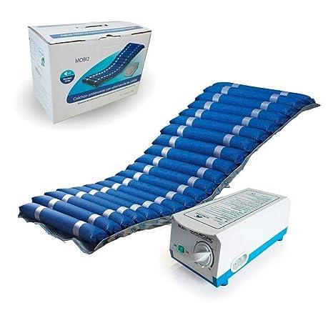 Colchón antiescaras de aire, Con compresor, Nylon y PVC, 200 x 86 x 9.5, 20 celdas, Azul, Mobi 2, Mobiclinic