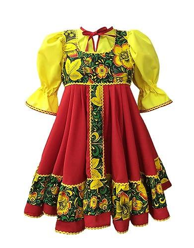 960ae40d8 Amazon.com: Russsian clothing fancy dress traditional dance costume red  sarafan folk costume Slavic attire: Handmade