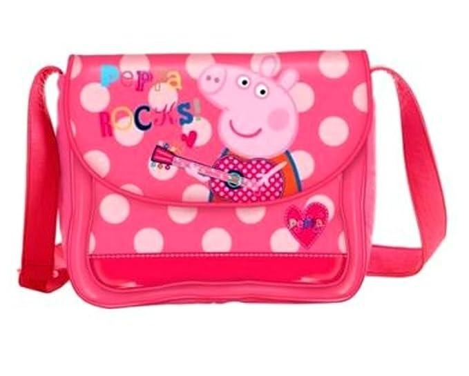 Peppa Pig Ropa de descanso para niñas bolso de mano producto oficial Rocks para el hombro bolso bandolera de piel de mensajero de mochilas escolares ...